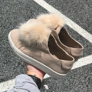 EUC Candies Baby Pink Suede Puff Ball Sneakers
